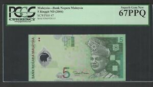 Malaysia 5 Ringgit ND(2004) P47 Uncirculated Graded 67