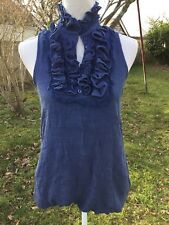 Apricot sleeveless blouse Size M colour denim blue Fully lined