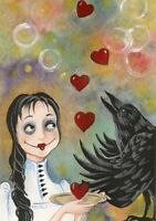 ACEO PRINT OF PAINTING RYTA GOTHIC LOWBROW JUGGLER VALENTINES DAY GIRL HEART