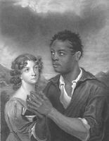 BLACK YOUNG AFRICAN PRINCE & PRETTY WHITE GIRL PRAY ~ 1844 Art Print Engraving