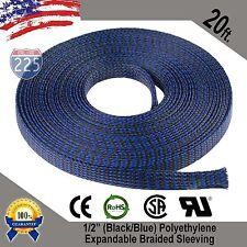 "20 Ft 1/2"" Black Blue Expandable Wire Sleeving Sheathing Braided Loom Tubing Us"