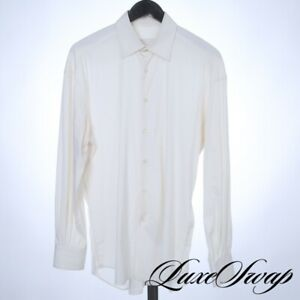 Prada Made in Italy Off White Chalk Luxury Twill Fitted Button Down Shirt 15.5