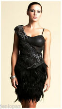 NWT Bebe black lace one shoulder bustier isis feather kardashians top dress XXS