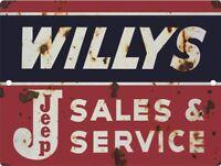 Willys Jeep Vintage Metal Aluminum Tin Sign 9x12