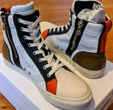 $1095 Mens Balmain Leather Lace Up High-Top Sneakers White/Multi 43 US 10