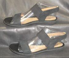 Unstructured Clarks women's black nubuck w/elastic ankle strap sandal size UK 5D