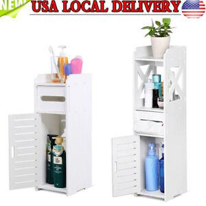 Wooden Bathroom Floor Cabinet Storage Cupboard 2 Shelves Free Standing White