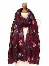 New Women  Butterfly Print Large Scarf Ladies Floral  Pashmina Snood Fancy Hijab