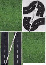 -10 SHEETS A4 21x28cm  ROADS EMBOSSED + CURVE HO 1/87 scale BLACK ASPHALT+ grass