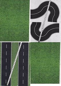 16 SHEETS  21x28cm  each ROADS EMBOSSED+CURVE HO 1/87 scale BLACK ASPHALT+grass