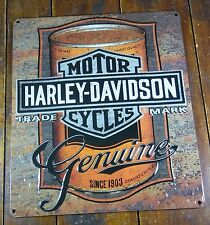 HARLEY DAVIDSON ORANGE BROWN MOTOR OIL CAN HIGHLY EMBOSSED METAL ADV SIGN