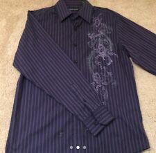 Men's Dragon Print Large Long Sleeved Button Down Casual Dress Shirt