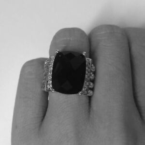 Classic David Yurman size 8 Wheaton Ring With Black Onyx And Crytstal
