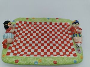 Ceramic BBQ Picnic Platter Red White Checkered New In Box Veggie Fruit Tray