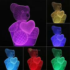 Cartoon Cute Heart Bear Shape 3D Night 7 color change LED Desk Table Light Lamp