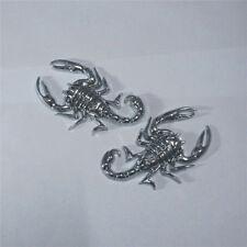 1 Pair of Silver Scorpion Chrome Metal Emblem Badge Sticker Turbo Engine Car 3D