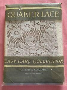 New Sealed Vintage Quaker Lace 9 Pc White Kensington Tablecloth Napkins Rings
