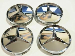 4x75mm Mercedes Benz Mirror Chrome Wheel Center Caps Rim Caps Hub Caps Emblems
