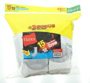 15 Pack Hanes Boys Full Cushion Foot Heel & Toe Comfort Crew Socks, White