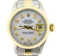 Rolex Datejust Ladies 2Tone 14K Gold & Steel Watch White MOP Diamond Dial 6917