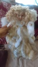 Gold Shiney Angel Porcelain Doll New Good Condition Pretty!