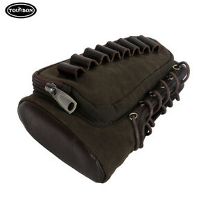 Tourbon Shooting Cheek Rest Recoil Pad Rifle Ammo Holder Pouch Canvas Leather