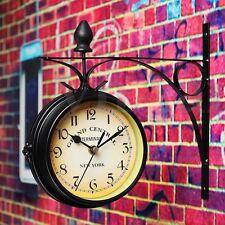 Doppelseitige runde Bahnhofsuhr Eisen Wanduhr Garten Retro Klassisch Uhr Schwarz