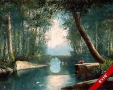 IDYLL PEACEFUL WOODLAND STREAM RIVER & BRIDGE PAINTING ART REAL CANVAS PRINT