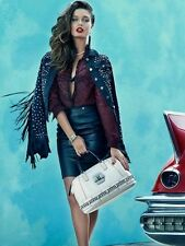 $297 Guess Faux Leather Studded Rhinestones Brittney Fringed Denim Jacket Sz Xs