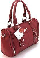 Ladies Women Lorenz Cowhide Real Leather Tote Barrel Shoulder Bag Handbag Wine