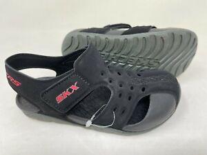 NEW! Skechers Youth Boy's SIDE WAVE Comfort Sandals Black #92330L 197Q tz