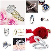 Damen Ring Verlobungsring Blume Kristall Schmuck Fingerring Geschenk