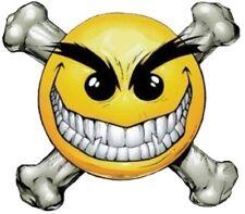 SMILEY FACE WITH BONES HELMET STICKER LAPTOP STICKER TOOLBOX STICKER HARD HAT
