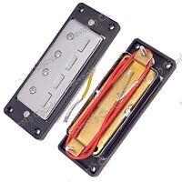 1 Set 2 Pcs Mini Chrome 4 string Bass Guitar Humbucker Pickups with Black Ring