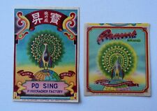 Lot of 2 Vintage Peacock Brand Firecracker Pack Label Original Ex Condition Rare