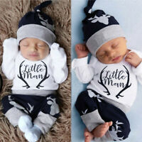 Newborn Baby Boy Clothes Little Man Romper+Deer Leggings Pants+Hat Outfit Set UK