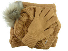 JOLIE 3 teiliges Damen Set Schal Mütze m. großer Bommel Handschuhe Geschenkidee