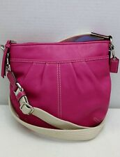 Coach Fucshia Pink Pleated Leather Ivory Canvas Strap Small Crossbody Bag