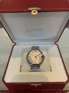 Cartier Ballon Bleu Silver Men's Watch - W69012Z4 Excellent Condition