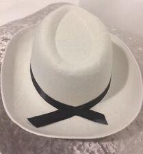 White COWBOY HAT WILD WEST COWGIRL FANCY DRESS ADULT STETSON Black Ribbon