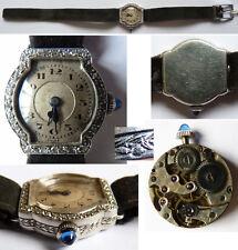 SUPERBE Montre  femme PLATINE + diamants ver 1930 gold platinum watch ELIN Swiss