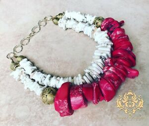 Red Coral Chunky Statement Necklace Handmade African Brass Beads White Howlite