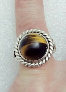 Vintage Mexico Sterling Silver Large Tiger's Eye Ring Size 6.5