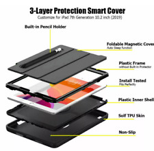 """For iPad 10.2"""" 7th 8th Generation Smart Shockproof Case Cover With Pen Holder Uk"""