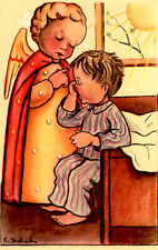 "Vintage Netherlands Postcard Waking Young Boy & an Angel 3.5"" x 5.5"""