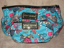 BETSEY JOHNSON Betseyville Junk In The Trunk Teal 2 PC Set Cases Bag Purse NWT
