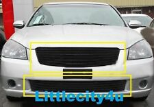 For 2005 2006 Nissan Altima Black Billet Grille Grill Inserts Combo