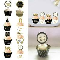 HAPPY NEW YEAR 2020 New Year Cake Insert Card Cup Decoration Cup Cake Decor Hot