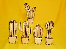 Wooden Cactus novelty Plant- Laser Cut birch plywood decor cacti flower gift