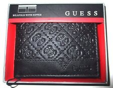 MENS GUESS BIFOLD WITH ZIPPER ENGRAVED LOGO BLACK WALLET WITH ORIGINAL GIFT BOX